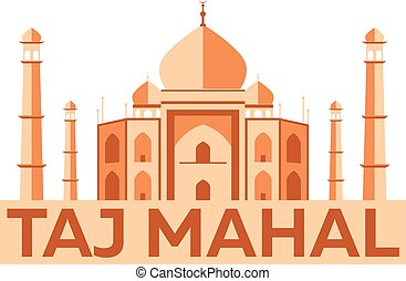 Taj Mahal. Agra. Indian architecture. Modern flat design....