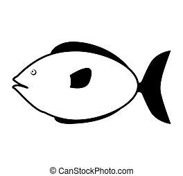 monochrome silhouette with small sea fish vector...