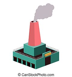 colorful silhouette of industry with fireplace