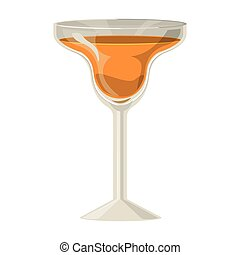 silhouette with drink orange in cocktail glass