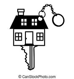 silhouette key monochrome with shape house