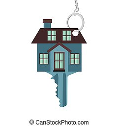 silhouette key blue color with shape house