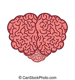 brain silhouette color with top view