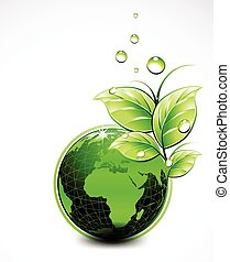 Vector Natural green World with leaves and water drops