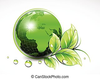 Natural green World with leaves and water drops. Vector illustration