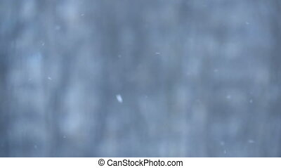 Snow falling background in slow motion in winter