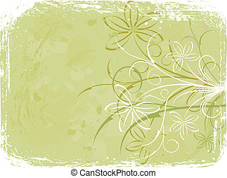 Grunge floral background, elements for design, vector...