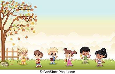 cartoon children eating junk food
