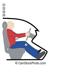 posture behind the wheel - vector illustration of posture...