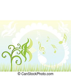 Background Singing flowers & Abstract Illustration