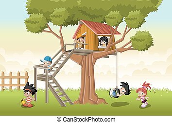 cartoon kids playing in house tree on the backyard