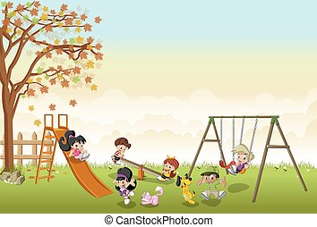 cartoon kids playing in playground on the backyard