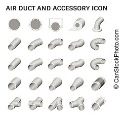 Air duct vector - Vector icon of air duct pipe fitting for...
