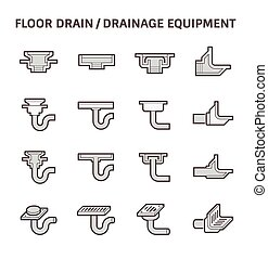 Floor drain icon - Floor drain or drainage equipment vector...