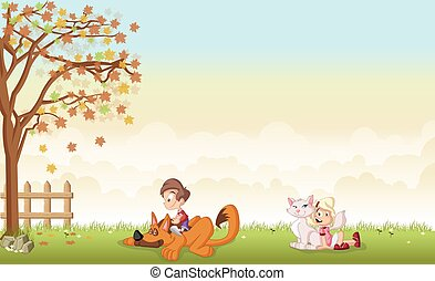 cartoon boy and girl with dog and cat