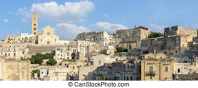 Matera scenic panorama of Sasso Barisano and the Cathedral