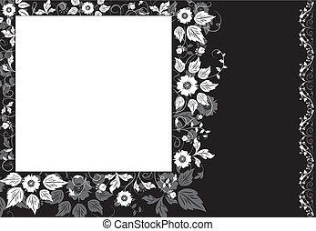 Framed background flower, elements for design, illustration