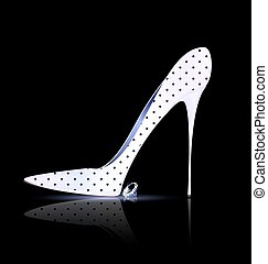 white black shoe and crystal - dark background and the ladys...