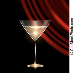 glass of champagne and red drape - black background and the...