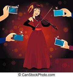 glamorous female singer in dress