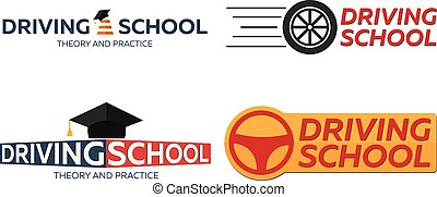 Driving school logo set. Auto Education. The rules of the road.