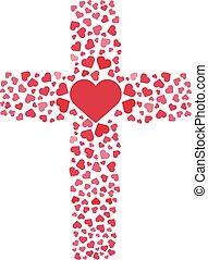 Jesus true love. Cross. Heart. Love. Vector illustration. -...