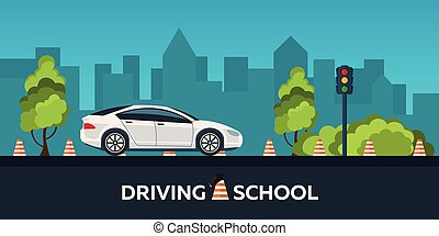 Driving school illustration. Auto. Auto Education. The rules of the road. Practice.