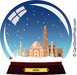 Snow globe city. India in Snow Globe. Winter travel vector...