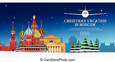 Christmas Journey to Russia, Moscow. Vector flat illustration. Travel.