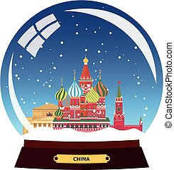 Snow globe city. Russia, Moscow in Snow Globe. Winter travel vector illustration.