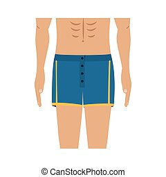 half body men with blue swimming short