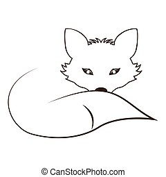 silhouette contour monochrome with fox lying down vector...