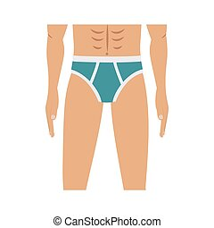half body men with blue swimming trunks
