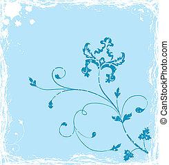 Grunge background flower, elements for design, vector...