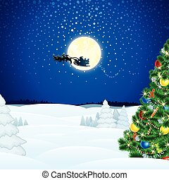 Winter Christmas Scene with Santa Sleigh. Vector Picture