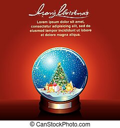 Snow globe with Decorated Christmas Tree