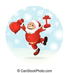 Illustration of Happy Santa Claus with Gift Vector