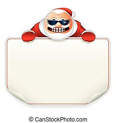 Santa Claus with Blank Paper Sign.