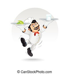 Funny Chef Cook with Diet Food on Dishes. Vector - Funny...