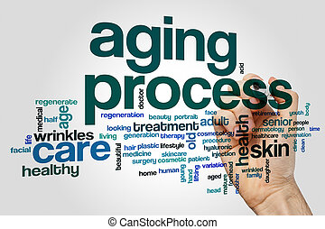 Aging process word cloud concept