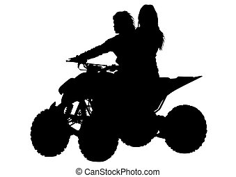 Quad sport women - Athletes ATV during races on white...