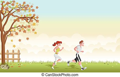Green grass landscape with cartoon couple jogging.