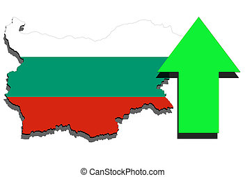 Bulgaria map on white background and green arrow up