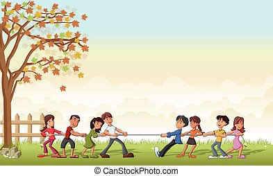 children playing Tug Of War - Green grass landscape with...