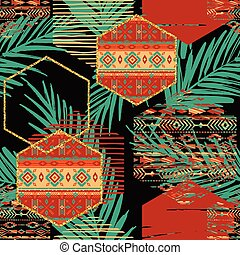 Tribal ethnic seamless pattern with geometric hexagon...