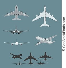 Airplane silhouettes collection of flying airplanes, taking...