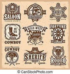 Set of vector wild west logos, badges with cowboy and...