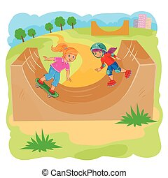 Two girls ride using rollerblades and skateboard - Vector...