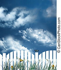 White picket fence - illustration of a white picket fence...