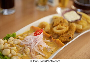 Typical and Traditional Peruvian Dish Seafood Ceviche.